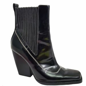 Zara Western Black Boots Mid block Leather Ankle